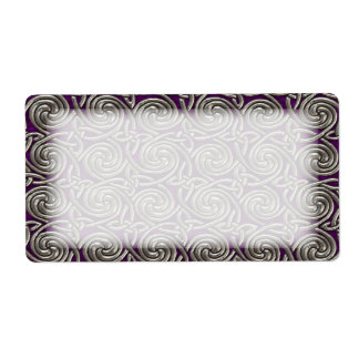 Silver And Purple Celtic Spiral Knots Pattern Label