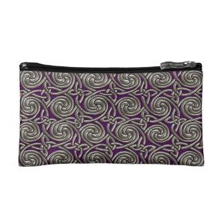 Silver And Purple Celtic Spiral Knots Pattern Makeup Bag