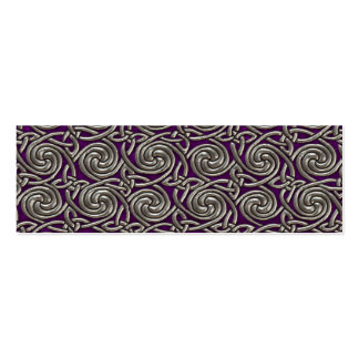 Silver And Purple Celtic Spiral Knots Pattern Mini Business Card