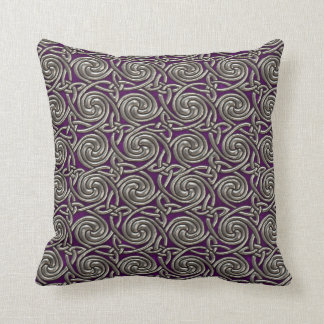 Silver And Purple Celtic Spiral Knots Pattern Throw Pillow