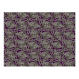 Silver And Purple Celtic Spiral Knots Pattern Postcard