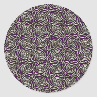 Silver And Purple Celtic Spiral Knots Pattern Round Stickers