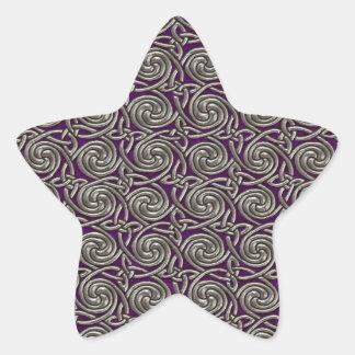 Silver And Purple Celtic Spiral Knots Pattern Star Sticker