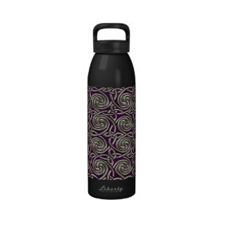 Silver And Purple Celtic Spiral Knots Pattern Reusable Water Bottles