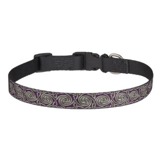 Silver And Purple Celtic Spiral Knots Pattern Dog Collar