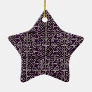 Silver And Purple Connected Ovals Celtic Pattern Ceramic Ornament