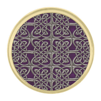 Silver And Purple Connected Ovals Celtic Pattern Gold Finish Lapel Pin