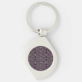 Silver And Purple Connected Ovals Celtic Pattern Keychain
