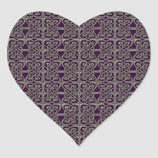 Silver And Purple Connected Ovals Celtic Pattern Heart Sticker