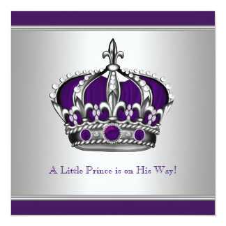Silver and Purple Crown Little Prince Baby Shower Card