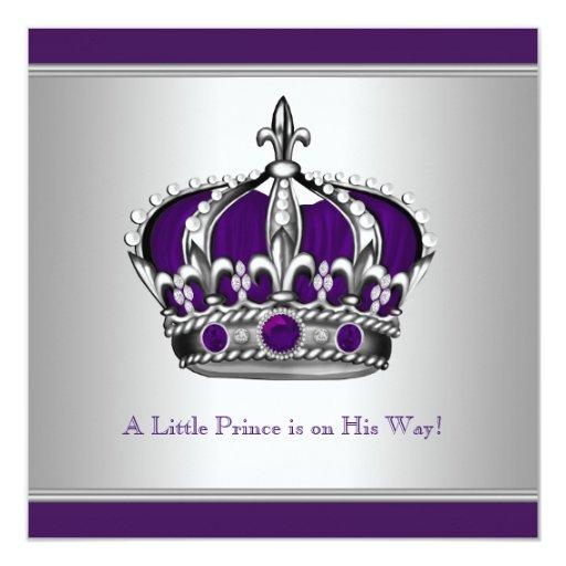 foto de Silver and Purple Crown Little Prince Baby Shower Invitation Zazzle