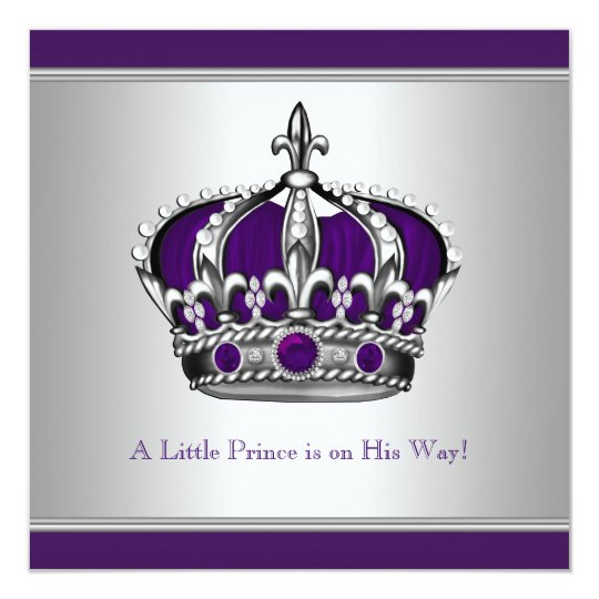 Silver and purple crown little prince baby shower invitation silver and purple crown little prince baby shower invitation filmwisefo