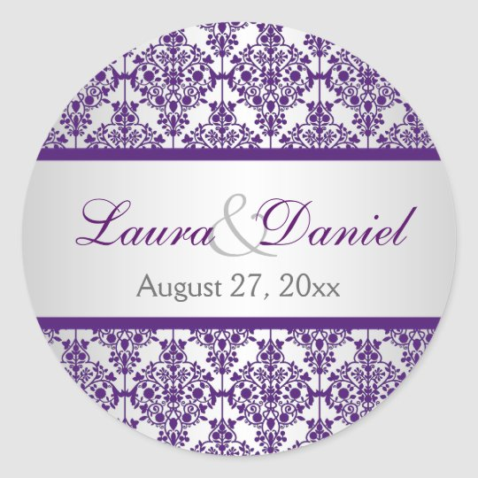 "Silver and Purple Damask 1.5"" Wedding Sticker"