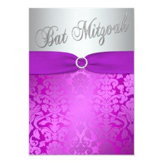"Silver and Purple Damask Bat Mitzvah Invitation 5"" X 7"" Invitation Card"