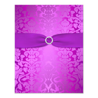 Silver and Purple Damask Bat Mitzvah Reply Card