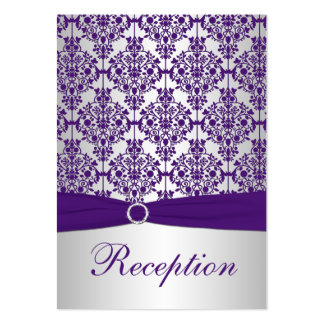 Silver and Purple Damask Enclosure Card Large Business Card