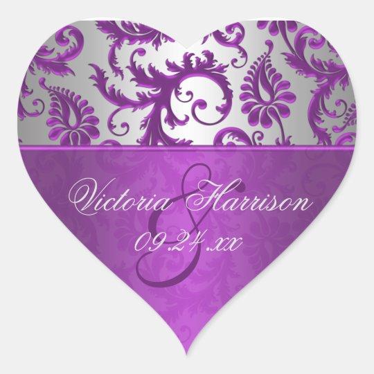 Silver and Purple Damask II Heart Shaped Sticker