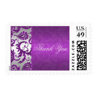 Silver and Purple Damask II Thank You Postage