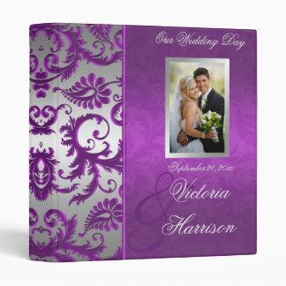 Silver and Purple Damask II Wedding BINDER