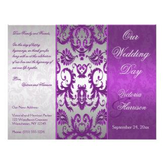 Silver and Purple Damask II Wedding Program Flyer Design