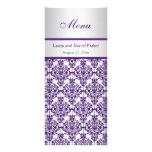 Silver and Purple Damask Menu Card Rack Card Design