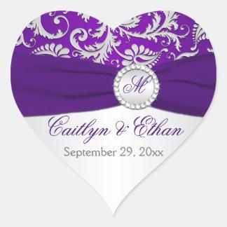 Silver and Purple Damask Monogram Wedding Sticker