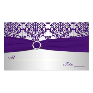 Silver and Purple Damask Place Cards Double-Sided Standard Business Cards (Pack Of 100)