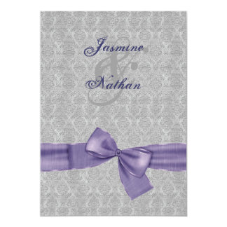 Silver and Purple Damask  Printed Bow Wedding V10 5x7 Paper Invitation Card