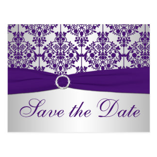 Silver and Purple Damask Save the Date Card