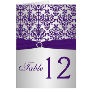 Silver and Purple Damask Table Number Card