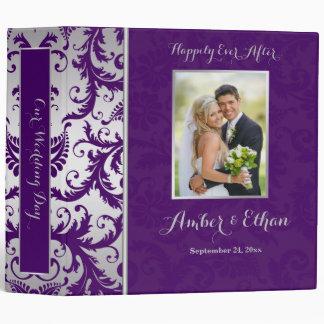 Silver and Purple Damask Wedding Binder/Album 3 Ring Binder
