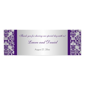 Silver and Purple Damask Wedding Favor Tag profilecard