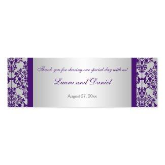 Silver and Purple Damask Wedding Favor Tag profilecard