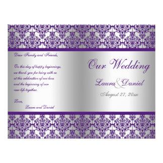 Silver and Purple Damask Wedding Program Full Color Flyer