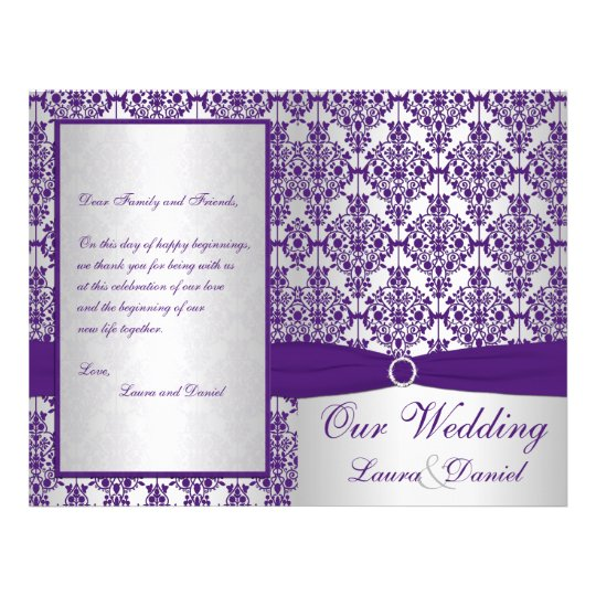 Silver and Purple Damask Wedding Program II