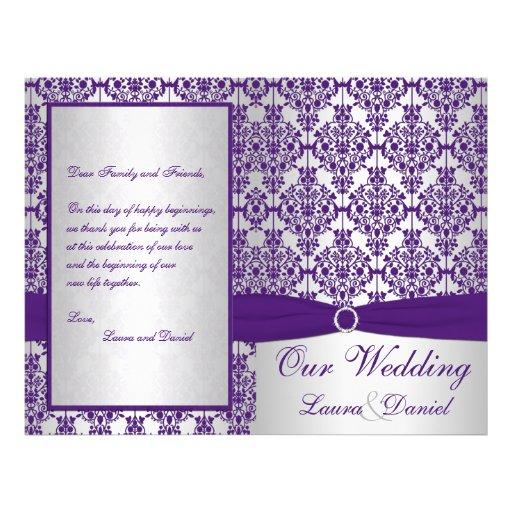 Silver and Purple Damask Wedding Program II Flyers