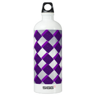 Silver and Purple Diamonds Aluminum Water Bottle