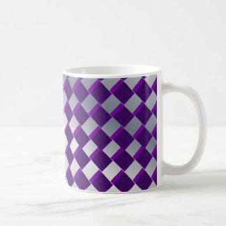 Silver and Purple Diamonds Coffee Mug