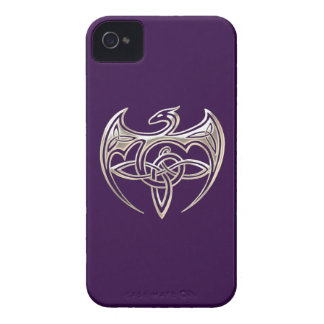 Silver And Purple Dragon Trine Celtic Knots Art iPhone 4 Case-Mate Cases