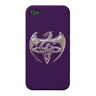 Silver And Purple Dragon Trine Celtic Knots Art iPhone 4/4S Case