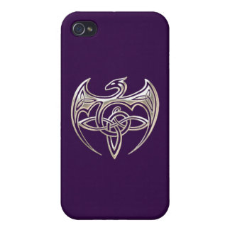 Silver And Purple Dragon Trine Celtic Knots Art iPhone 4/4S Cover