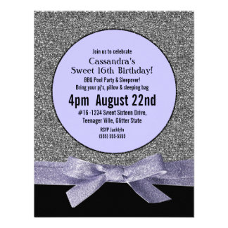 Silver and Purple Faux Glitter Girly Party Announcements