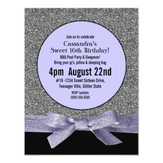"""Silver and Purple Faux Glitter Girly Party 4.25"""" X 5.5"""" Invitation Card"""