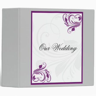 Silver and Purple Floral Heart Scroll Binder