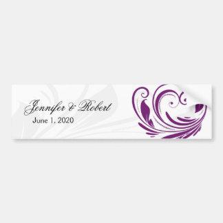 Silver and Purple Floral Heart Scroll Border Car Bumper Sticker