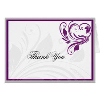 Silver and Purple Floral Heart Scroll Thank You Stationery Note Card