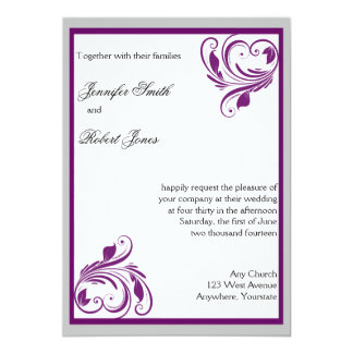 """Silver and Purple Floral Heart Scroll Wedding 5"""" X 7"""" Invitation Card"""