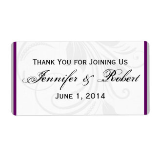 Silver and Purple Floral Heart Water Bottle Label Shipping Label
