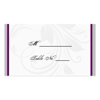 Silver and Purple Floral Heart Wedding Place Cards Business Card