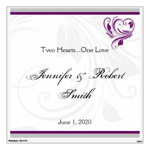 Silver and Purple Floral Heart Wedding Wall Cling Wall Skins
